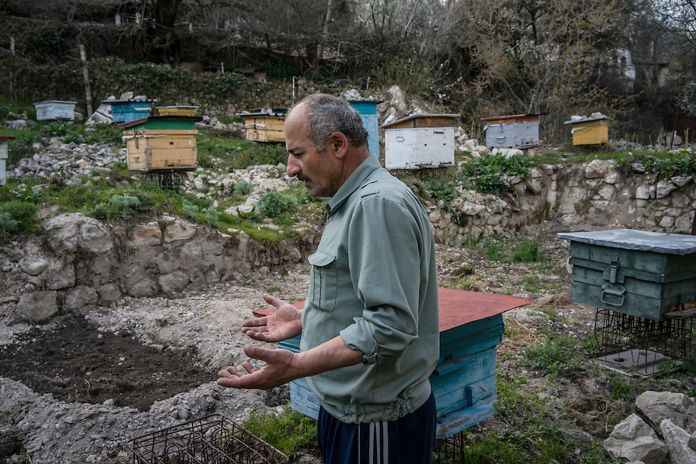SHUSHI, NAGORNO-KARABAKH - APRIL 19: Slava Petrosyan, 50, amongst the bee hives he keeps in his garden next to the Lower Mosque on April 19, 2015 in Shushi, Nagorno-Karabakh. Petrosyan, a veteran of the war between Armenia and Azerbaijan over Nagorno-Karabakh, was advised by a doctor to eat more honey after he was wounded in the fighting, and has kept bees as a result. Since signing a ceasefire in a war with Azerbaijan in 1994, Nagorno-Karabakh, officially part of Azerbaijan, has functioned as a self-declared independent republic and de facto part of Armenia, with hostilities along the line of contact between Nagorno-Karabakh and Azerbaijan occasionally flaring up and causing casualties. (Photo by Brendan Hoffman/Getty Images) *** Local Caption *** Slava Petrosyan