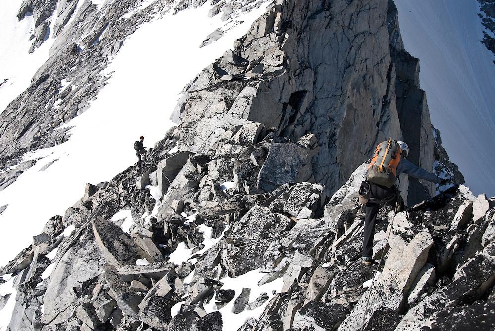 Julia Niles and Kate Rutherford, Mt Tiedemann (ED2 1600m 5.11), Waddington Range, BC,