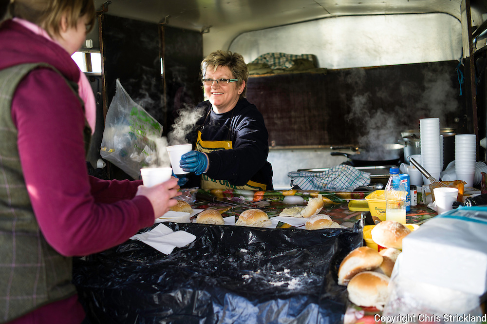 Lynne Park keeps the food orders coming thick and fast at the Jedforest point-to-point.