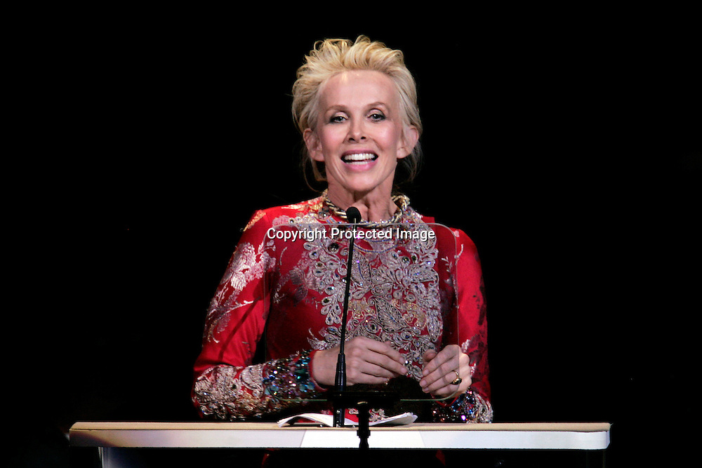 Trudie Styler addresses the audience during the Rainforest Foundation's benefit concert at Carnegie Hall in New York May 19, 2006. Photo by Keith Bedford