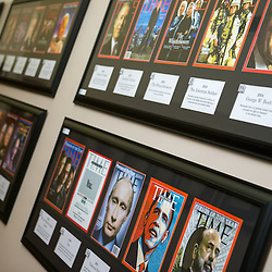 The Music Mass Communication buildings first-floor walls near the APSU Department of Communication office contain rows of professionally framed Time Magazine covers, all arranged by decade. A QR code appears in the corner of every cover, allowing visitors to use their smartphones to read the code and listen to audio about each Person of the Year. (Beth Liggett, APSU)
