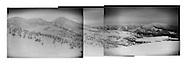 Volcanic panorama from the summit of Mt. Tamoyachidake.  (L to R)  The volcanic summits of Mt. Akakuradake, Mt. Iodake, Mt. Odake. and in the distance to the right, Ongamine Summit and far right Mt. Yokodake.  Aomori Prefecture, Japan.