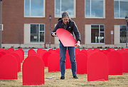 1,111 tombstone signs mark the number of suicides in Washington state in 2014. Gonzaga hosted the Zero Suicide Conference (Photo by Libby Kamrowski)