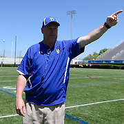 Delaware New Head Coach Dave Brock directs his team prior to The University of Delaware Annual Spring football game Saturday May. 04, 2013 at Delaware Stadium in Newark Delaware...Delaware will open it home schedule against Jacksonville University Aug. 29, 2013 at 7:30 p.m