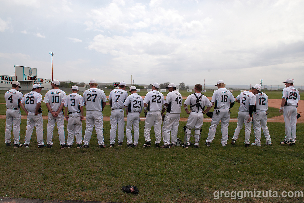 2011 Vale Vikings line up for the introductions before the start of the 3A Oregon State Baseball Championships semifinals game against Horizon Christian on May 31, 2011 at Cammann Field, Vale, OR.