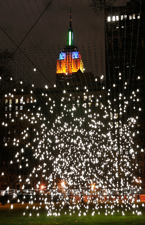 Scattered Light in Madison Square Park's Oval Lawn and Private Lighting on Empire State Building