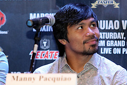 Sept 19, 2012; New York, NY, USA; Manny Pacquiao during the press conference announcing his fourth fight against Juan Manuel Marquez at The Edison Ballroom.