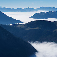 View west from Aggenstein (1987m) along Alp foothils along German - Austria border, Allgäu, Bavaria, Germany