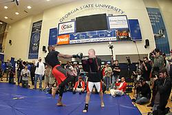 Atlanta, GA - April 20, 2012: Jon Jones during the UFC 145 open workouts at the Georgia State University Gym in Atlanta, Georgia.