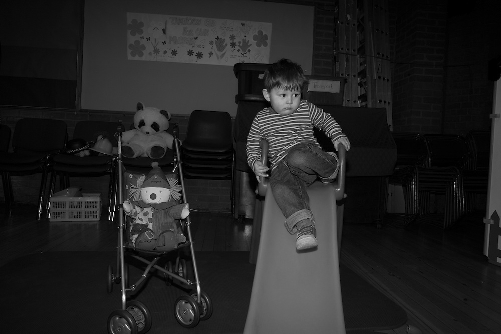 Joe goes down the slide at the children's play group Chuckles in All Saints Church in  Berkhamsted, England Tuesday, March 3, 2015 (Elizabeth Dalziel) #thesecretlifeofmothers #bringinguptheboys #dailylife