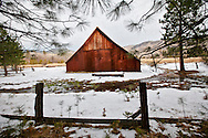 Winter scenes in Yosemite Valley located in the Yosemite National Park..Old barns in Yosemite park.