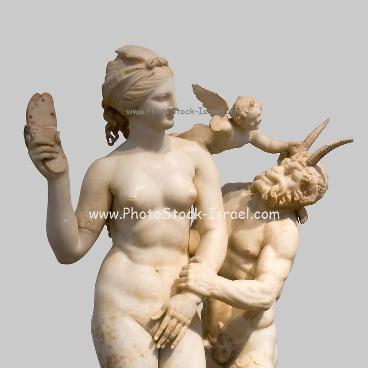 Aphrodite fends off Pan with a sandal while Eros flutters overhead marble statue 100 BCE. National Archaeology Museum, Greece, Athens