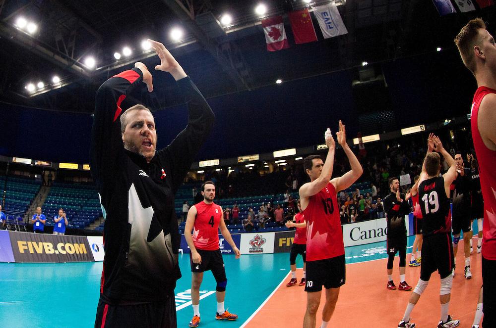 Canada celebrates a win versus Portugal following a World League Volleyball match at the Sasktel Centre in Saskatoon, Saskatchewan Canada on June 26, 2016.