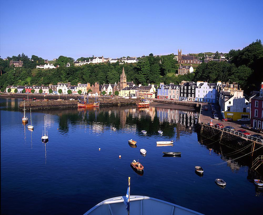 Tobermory  as seen from the bridge of the M.V.Lord Of The Isles, Isle of Mull, Argyll
