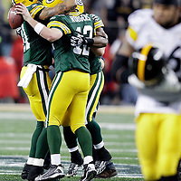 Green Bay Packers' Aaron Rodgers after taking the last snap and winning the Super Bowl. .The Green Bay Packers played the Pittsburgh Steelers in Super Bowl XLV,  Sunday February 6, 2011 in Cowboys Stadium. Steve Apps-State Journal.