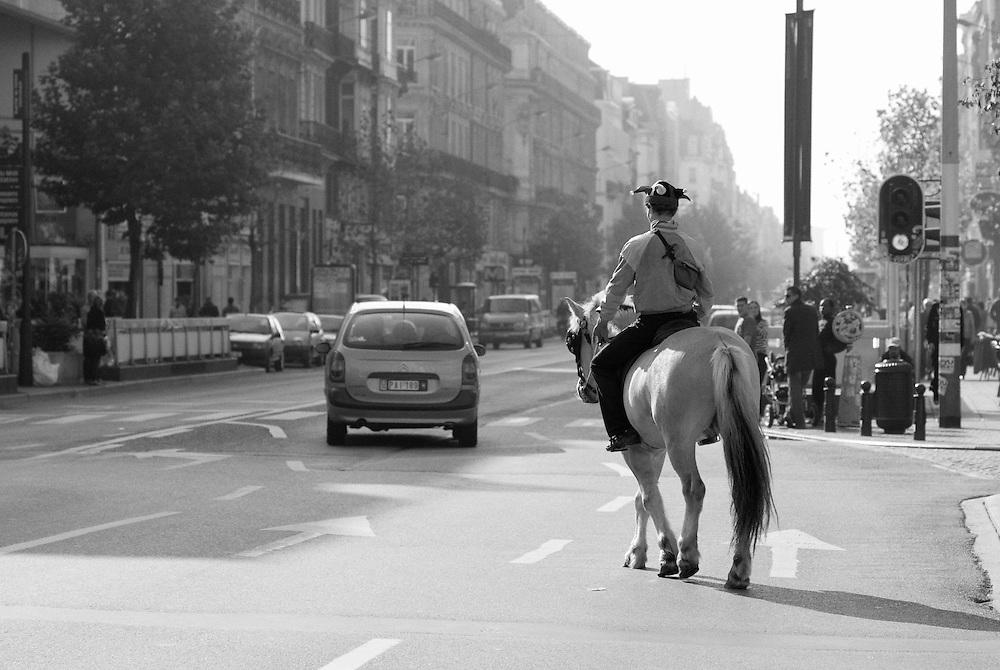 Man on horseback in city of Brussels