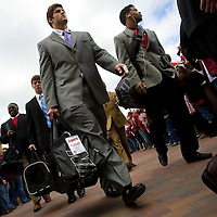 TUSCALOOSA, AL -- October, 24, 2009 -- University of Alabama tight end Colin Peek, center, heads into the stadium prior to the Crimson Tide's 12-10 victory over the University of Tennessee Volunteers at Bryant-Denny Stadium in Tuscaloosa, Ala., Saturday, Oct. 24, 2009.