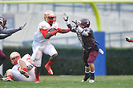 Lafayette High's D.K. Buford (2) vs. Forrest County AHS' Peyton Todd (3) in the MHSAA Class 4A championship game at Mississippi Veterans Memorial Stadium in Jackson, Miss. on Saturday, December 7, 2013. Forrest County AHS won 21-6.