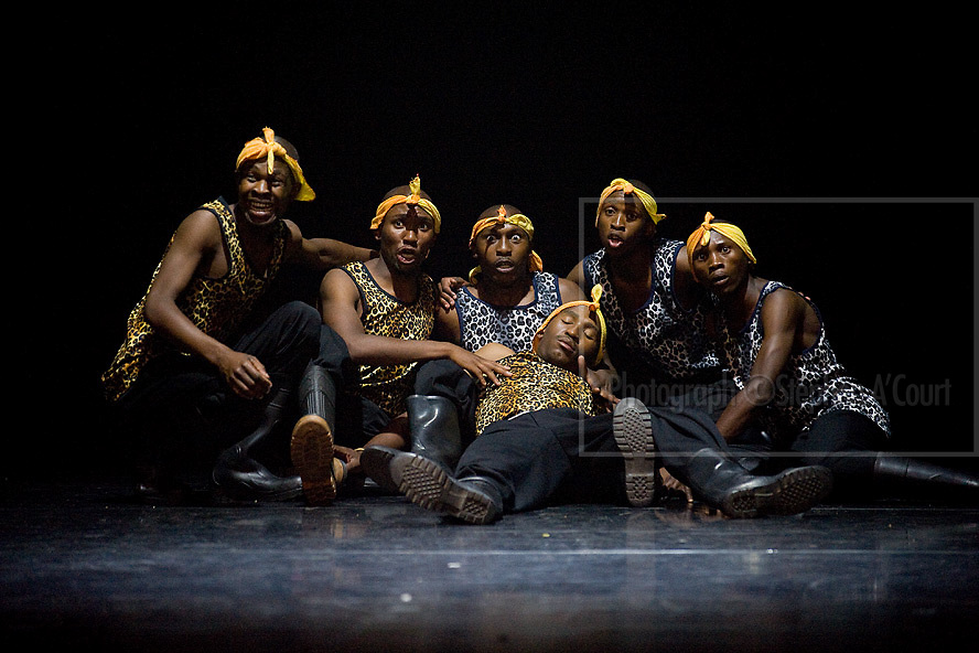 Nkosinathi's Cultural Group performs Gumboot Dance, a dance of the mine workers. Choreography, Nkosinathi Chamo.
