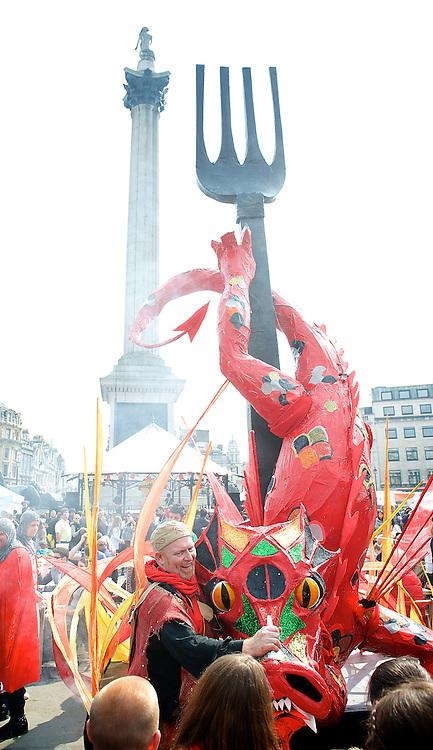 Feast of St. George celebrations. Atmosphere. Trafalgar Square, London, United Kingdom. Monday, 21st April 2014. Picture by Elliott Franks / i-Images