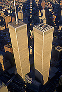 Looking Down, Aerial, Manhattan, New York City, New York, USA Twin Towers, World Trade Center, designed by Minoru Yamasaki, International Style II, photographed 2000