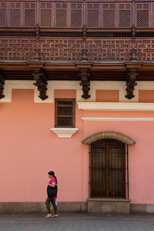South America, Peru, Lima, Historic center, woman walking in historic area