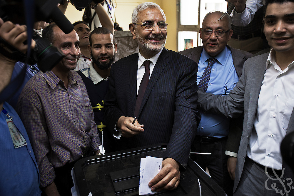 Egyptian Islamist presidential candidate Dr. Abdel Moneim Aboul Fotouh casts his ballot at his polling station in the Nasr City district May 23, 2012 in Cairo Egypt. Fotouh, a former member of the Muslim Brotherhood, is expected to be one of the front-running candidates during the two day election. (Photo by Scott Nelson)