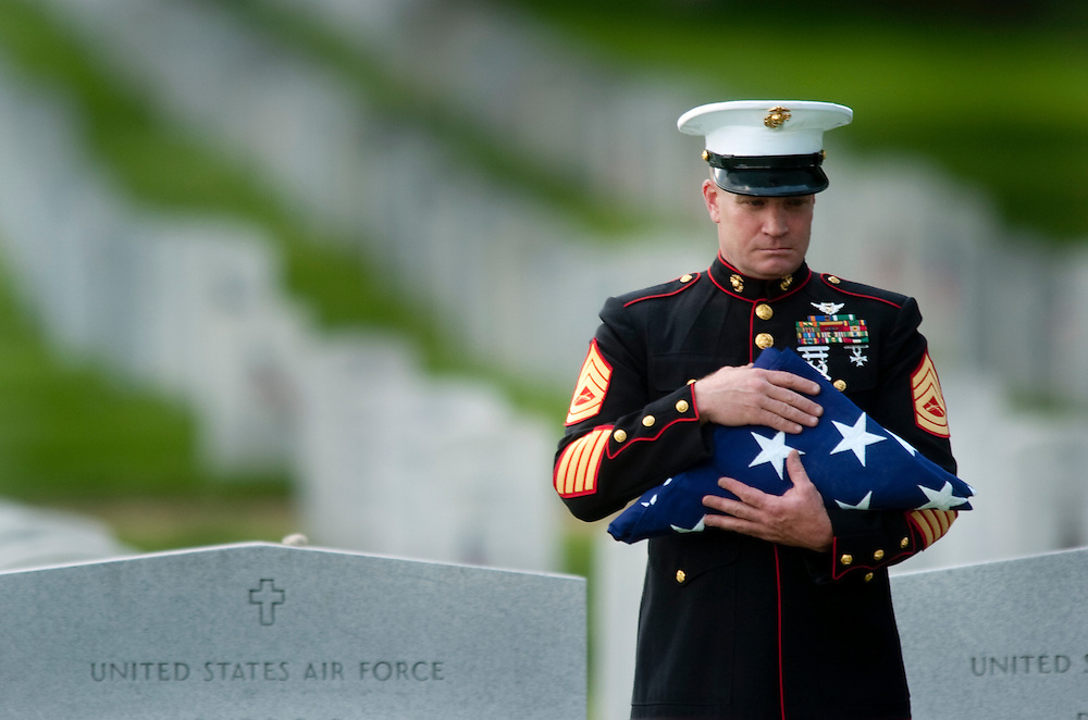 LCPL Jourdan Grez's graveside service at Arlington National Cemetery. Grez was killed May 11, 2005 when his amphibious assault vehicle struck an explosive device in Karabilah, Iraq.