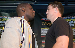 May 10, 2006 - New York, NY - WBC Heayweight Champion Hasim Rahman (l) and challenger Oleg Maskaev (r) pose during the press conference announcing their upcoming fight.  The two will meet on Saturday, August 12, 2006 at the Thomas & Mack Center in Las Vegas, NV.