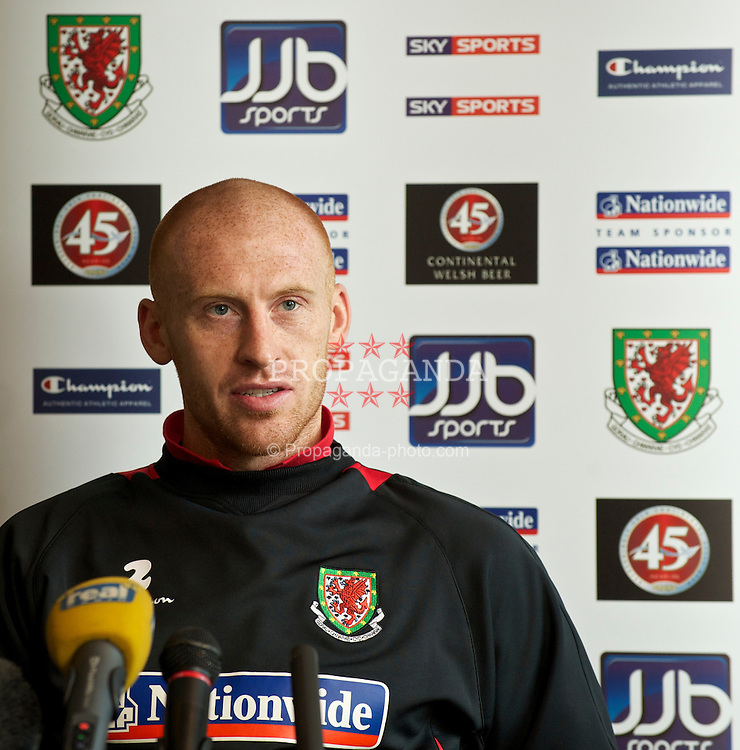 CARDIFF, WALES - Tuesday, March 2, 2010: Wales' captain James Collins during a press conference at the Vale of Glamorgan Hotel ahead of the international friendly match against Sweden. (Photo by David Rawcliffe/Propaganda)