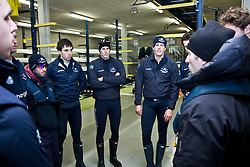 Sean Bowden leads a team talk prior to a training session of the Oxford University Blue Boat 2010 at Wallingford