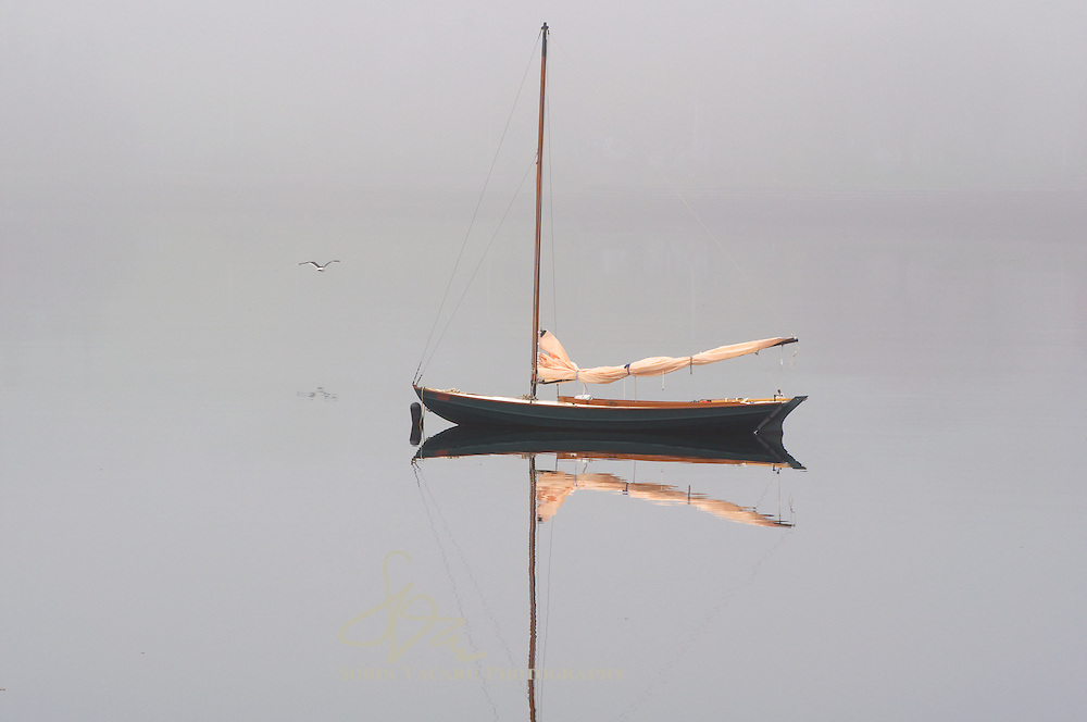 Skiffs Anchored on a Foggy Morning in Lunenburg, Nova Scotia