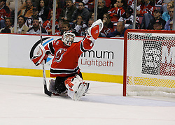 April 28, 2007; East Rutherford, NJ, USA; New Jersey Devils goalie Martin Brodeur (30) makes a save during the third period of game two of the 2007 NHL Eastern Conference semi-finals at Continental Airlines Arena in East Rutherford, NJ.