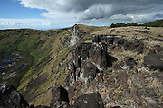 View of the crater rim of the Rano Kau volcano on Easter Island's south-west coast
