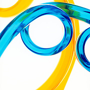 Abstract colorful curly plastic tubes
