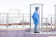 A model from Storm wearing a design by Royal College of Art graduate Niels Gundtoft on board Queen Mary 2 during the first Transatlantic Fashion Week voyage to New York. The voyage set sail from Southampton and will arrive in to New York City for the start of New York Fashion Week on the 8th September. <br /> Picture date: Monday September 5, 2016.<br /> Photograph by Christopher Ison &copy;<br /> 07544044177<br /> chris@christopherison.com<br /> www.christopherison.com