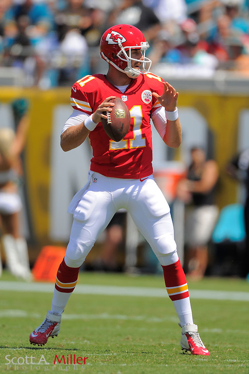 Kansas City Chiefs quarterback Alex Smith (11) during the Chiefs 28-2 win over the Jacksonville Jaguars at EverBank Field on Sept. 8, 2013 in Jacksonville, Florida. The <br /> <br /> &copy;2013 Scott A. Miller