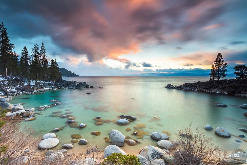 """Secret Cove Sunset 3"" - Sunset photograph of Secret Cove on the east shore of Lake Tahoe, Nevada."