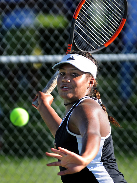 jt050417j/sports/jim thompson/ Eldorado's Carmen Corley looks tot he ball as she prepares to return the serve of Albuquerque High's Abigail Nielsen in the finals of the Girls 6A State Tennis championships.  Thursday May. 04, 2017. (Jim Thompson/Albuquerque Journal)