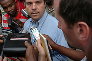 A UN spokesman speaks to media after the body of UN commander General Bacellar is found in the Montana Hotel. Port-au-Prince, Haiti, January 7, 2006.