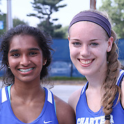 Photos of double champions Charter School Of Wilmington Neha Divi and Kellie Carison taken Tuesday, May. 26, 2015 at UD Field House in Newark, DEL