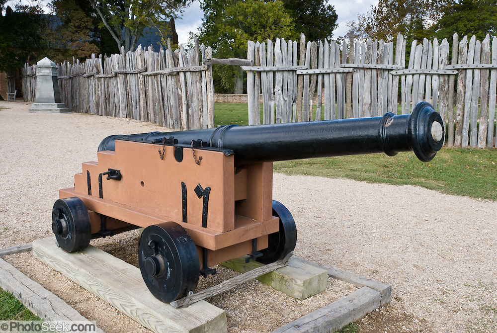 A cannon defends Jamestown fort on the James River at Historic Jamestowne, a National Historic Site that is part of Colonial National Historical Park, Virginia, USA. Jamestown was founded by the Virginia Company of London on May 14, 1607 on Jamestown Island, and is commonly regarded as the first permanent English settlement in what is now the United States of America. (Several earlier colonies failed.) Located in James City County when it was formed in 1634 as one of the original eight shires of Virginia, Jamestown was the capital of the Colony for 83 years, from 1616 until 1698. In 1698, the capital was relocated to Middle Plantation, about 8 miles (13 km) distant, a small community which was already home to the new College of William and Mary in 1693 and was renamed Williamsburg in 1699.