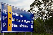 New road sign near Mantua, Pinar del Rio, Cuba.