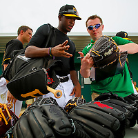 BRADENTON, FL -- Pittsburg Pirates players try out and customize custom Rawlings baseball gloves at Spring Training at Pirate City in Bradenton, Florida.  (Photo by Chip Litherland for ESPN the Magazine)
