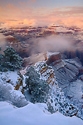The winter storm of New Year's Day, 2015, clears from the Grand Canyon.