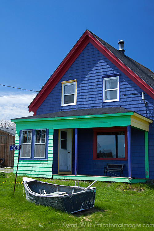 North America, Canada, Nova Scotia, Guysborough County. A colorful house adds character to the landscape of Nova Scotia.