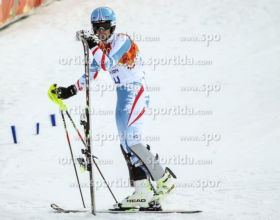 14.02.2014, Rosa Khutor Alpine Center, Krasnaya Polyana, RUS, Sochi, 2014, Super- Kombination, Herren, Slalom, im Bild Matthias Mayer (AUT) // Matthias Mayer of Austria during the Slalom of the mens Super Combined of the Olympic Winter Games 'Sochi 2014' at the Rosa Khutor Alpine Center, Krasnaya Polyana, Russia on 2014/02/14. EXPA Pictures &copy; 2014, PhotoCredit: EXPA/ Minkoff<br /> <br /> *****ATTENTION - OUT of GER*****