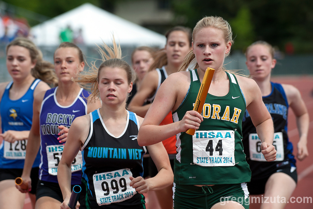 Borah's Sara Christianson takes the early lead during the first leg of the 5A State Track & Field Championships 4x800 at Dona Larsen Park, Boise, Idaho on May 17, 2014. Mountain View won the event in 9:19.49. Borah finished fourth in 9:38.64.