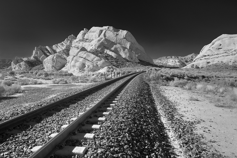 Mormon Rocks And Railroad Tracks - North View From Railway Bed - Infrared Black & White