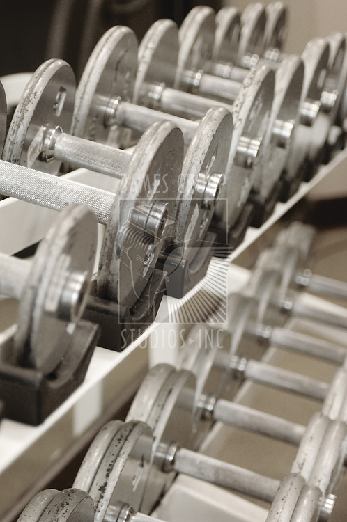 Rack of free weights in a health spa/gym